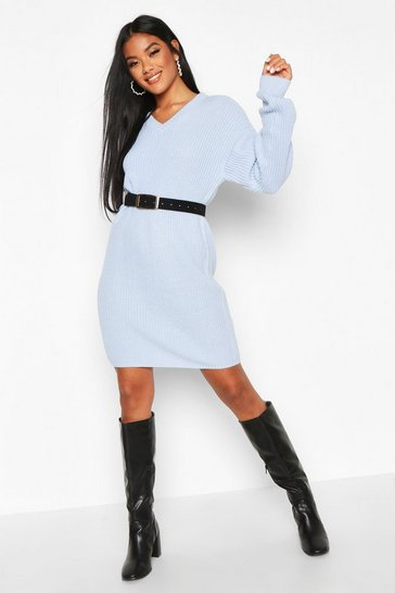 Pastel blue Fisherman V Neck Jumper Dress