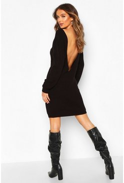 Womens Black V Back Fisherman Oversized Jumper Dress
