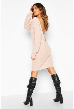 Womens Blush V Back Fisherman Oversized Jumper Dress