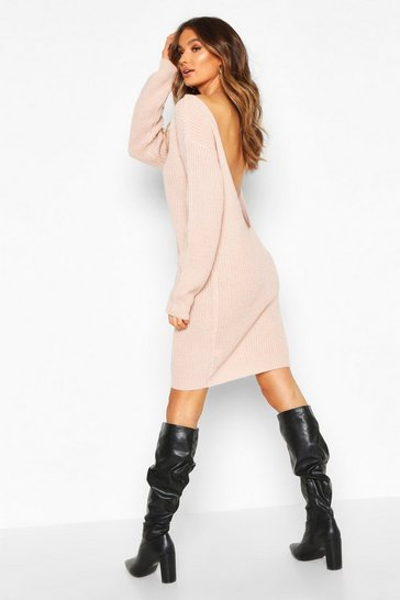 Blush V Back Fisherman Oversized Jumper Dress