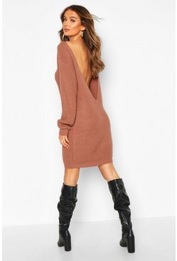Mocha V Back Fisherman Oversized Sweater Dress