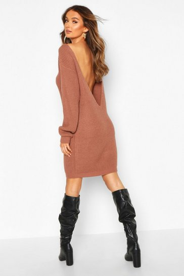 Mocha V Back Fisherman Oversized Jumper Dress