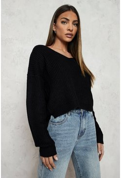 Black Cropped Fisherman V Neck Jumper