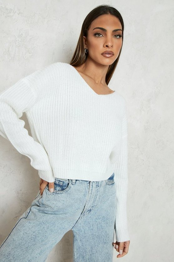 Cream Cropped Fisherman V Neck Jumper