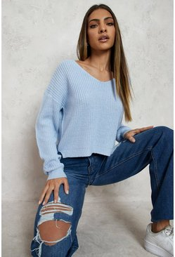 Womens Pastel blue Cropped Fisherman V Neck Jumper