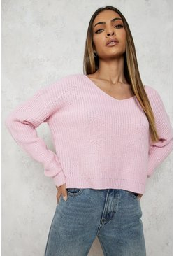 Pastel pink Cropped Fisherman V Neck Jumper