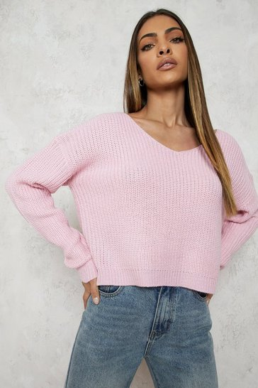 Womens Pastel pink Cropped Fisherman V Neck Jumper