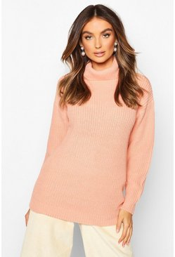 Womens Apricot Fisherman Roll Neck Jumper