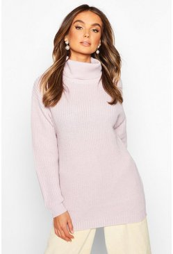 Lilac Fisherman Roll Neck Sweater