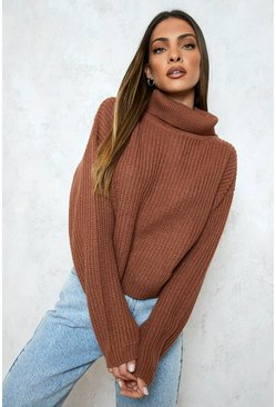 Biscuit Cropped Fisherman Roll Neck Jumper