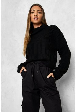 Womens Black Cropped Fisherman Roll Neck Jumper