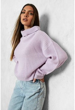 Womens Lilac Cropped Fisherman Roll Neck Jumper