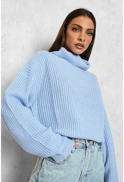 Pastel blue Cropped Fisherman Roll Neck Jumper
