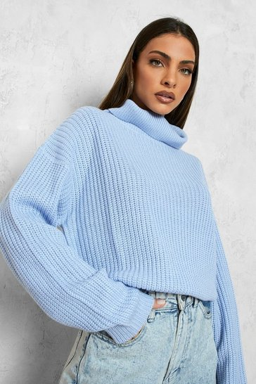 Womens Pastel blue Cropped Fisherman Roll Neck Jumper