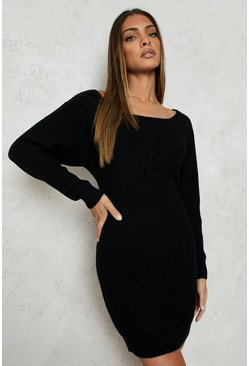 Womens Black Slash Neck Fisherman Jumper Dress