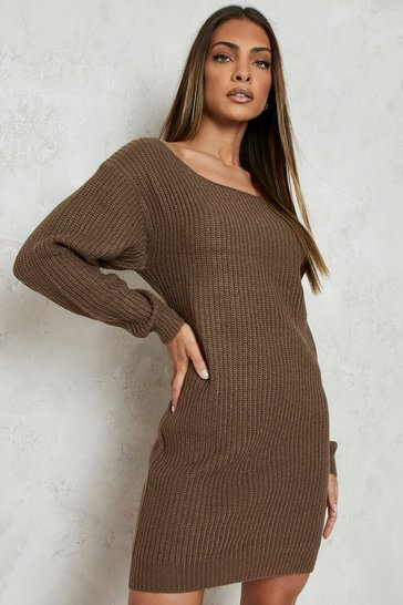 Womens Mocha Slash Neck Fisherman Jumper Dress