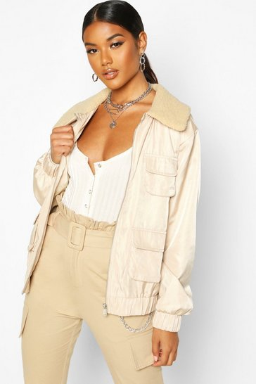 Womens Stone Faux Fur Collar Utility Jacket