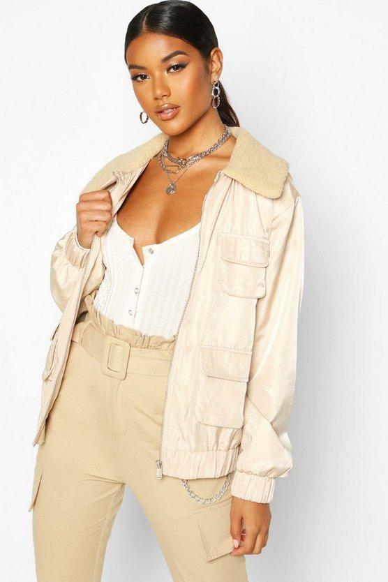 Faux Fur Collar Utility Jacket