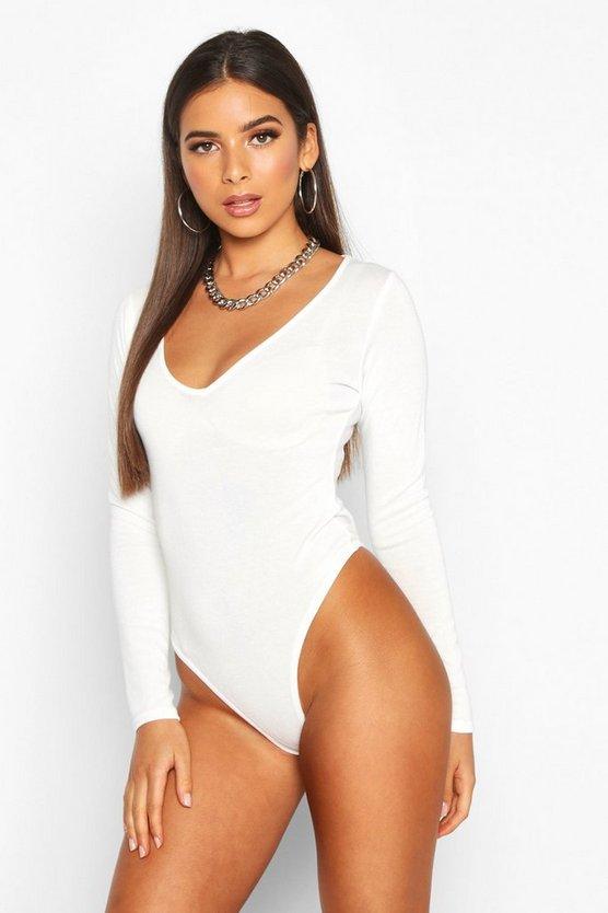 Soft Knit V Neck Long Sleeve Bodysuit