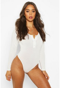 Ivory Soft Knit Long Sleeve Popper Bodysuit