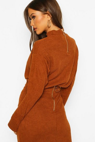 Womens Tobacco Rib Knit Zip Long Sleeve Top