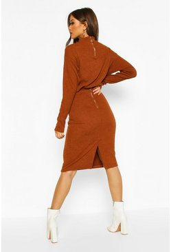 Womens Tobacco Rib Knit Split Midi Skirt