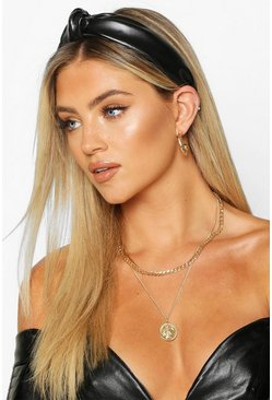 Dam Black PU Twist Knot Headband