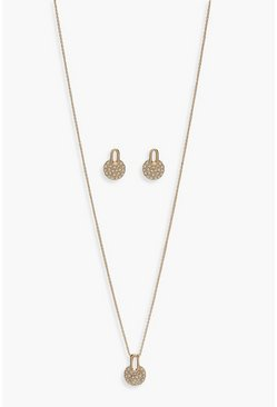 Womens Gold Diamante Pendant & Earring Jewellery Set