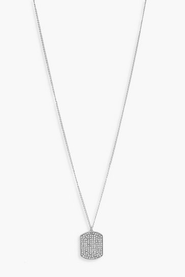 Womens Silver Diamante Tag Simple Pendant Necklace