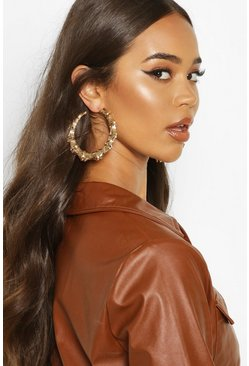 Gold Bamboo Effect Oversized Hoop Earrings