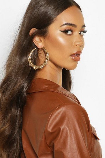 Womens Gold Bamboo Effect Oversized Hoop Earrings
