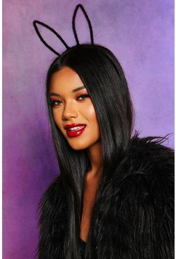 Womens Black Halloween Fluffy Texture Wire Bunny Ears