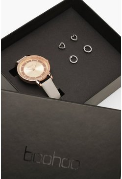 Set regalo Face Watch & Stud con strass, Grigio, Femmina