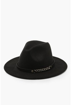 Dam Black Chain Detail Fedora Hat