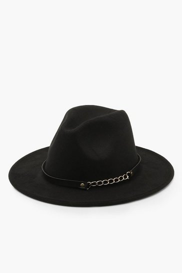 Womens Black Chain Detail Fedora Hat