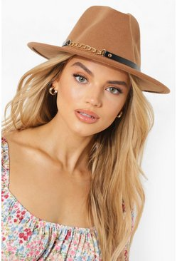 Womens Caramel Chain Detail Fedora Hat