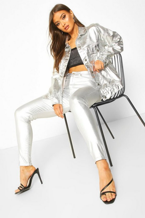 Silver Coated Leather Look High Rise Skinny Jeans