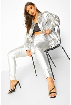 Womens Silver Coated Leather Look High Rise Skinny Jeans