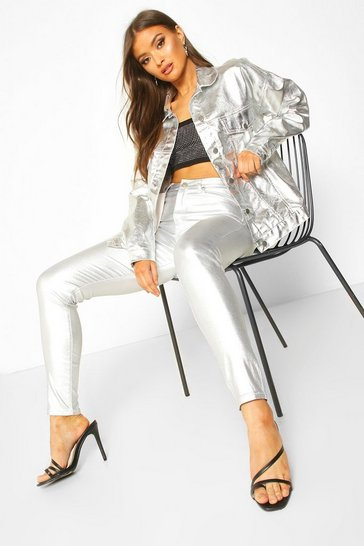 Womens Silver Coated High Rise Skinny Jeans