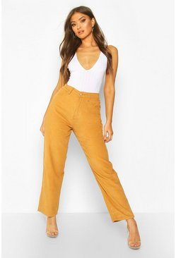 Tan High Rise Cord Mom Jeans