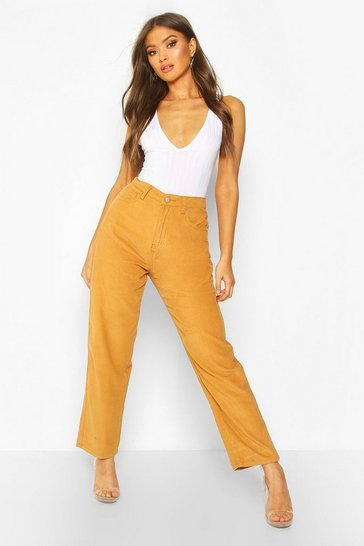 Womens Tan High Rise Cord Mom Jeans