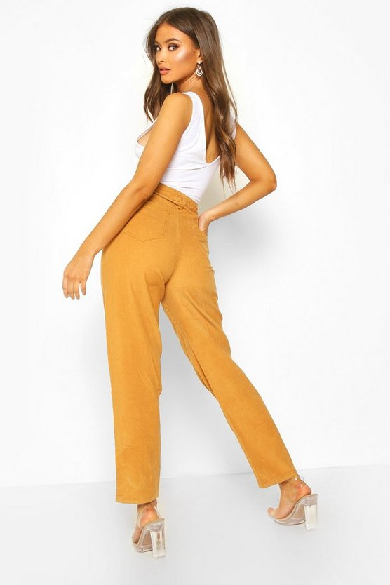 High Rise Cord Mom Jeans