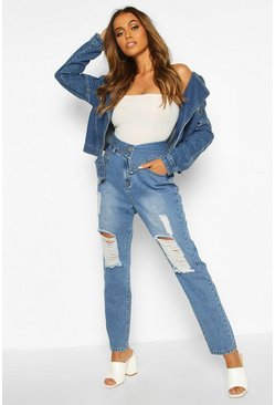 Blue Asymetric Waist Distressed High Rise Mom