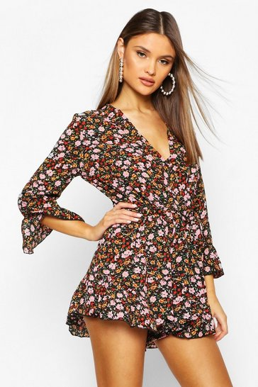 Womens Black Ditsy Floral Wrap Ruffle Hem Playsuit