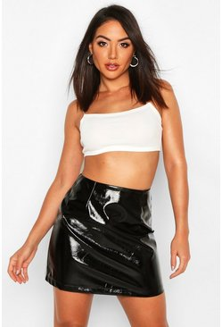 Black Vinyl A Line Mini Skirt