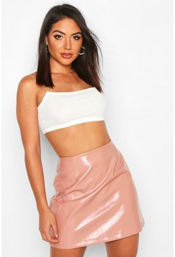 Rose Vinyl A Line Mini Skirt