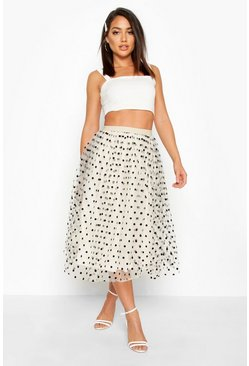 Ivory Polka Dot Flocked Tulle Midi Skirt