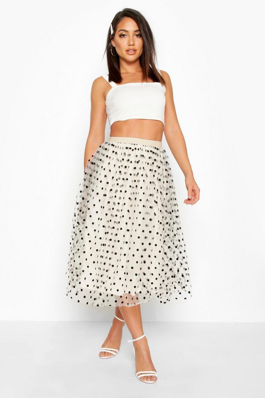 bright n colour high quality new high Polka Dot Flocked Tulle Midi Skirt | Boohoo