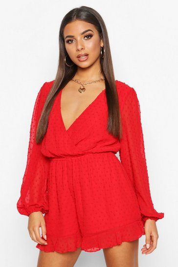 Womens Red Wrap Dobby Mesh Blouson Sleeve Playsuit