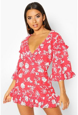 Red Ruffle Floral Flared Sleeve Playsuit